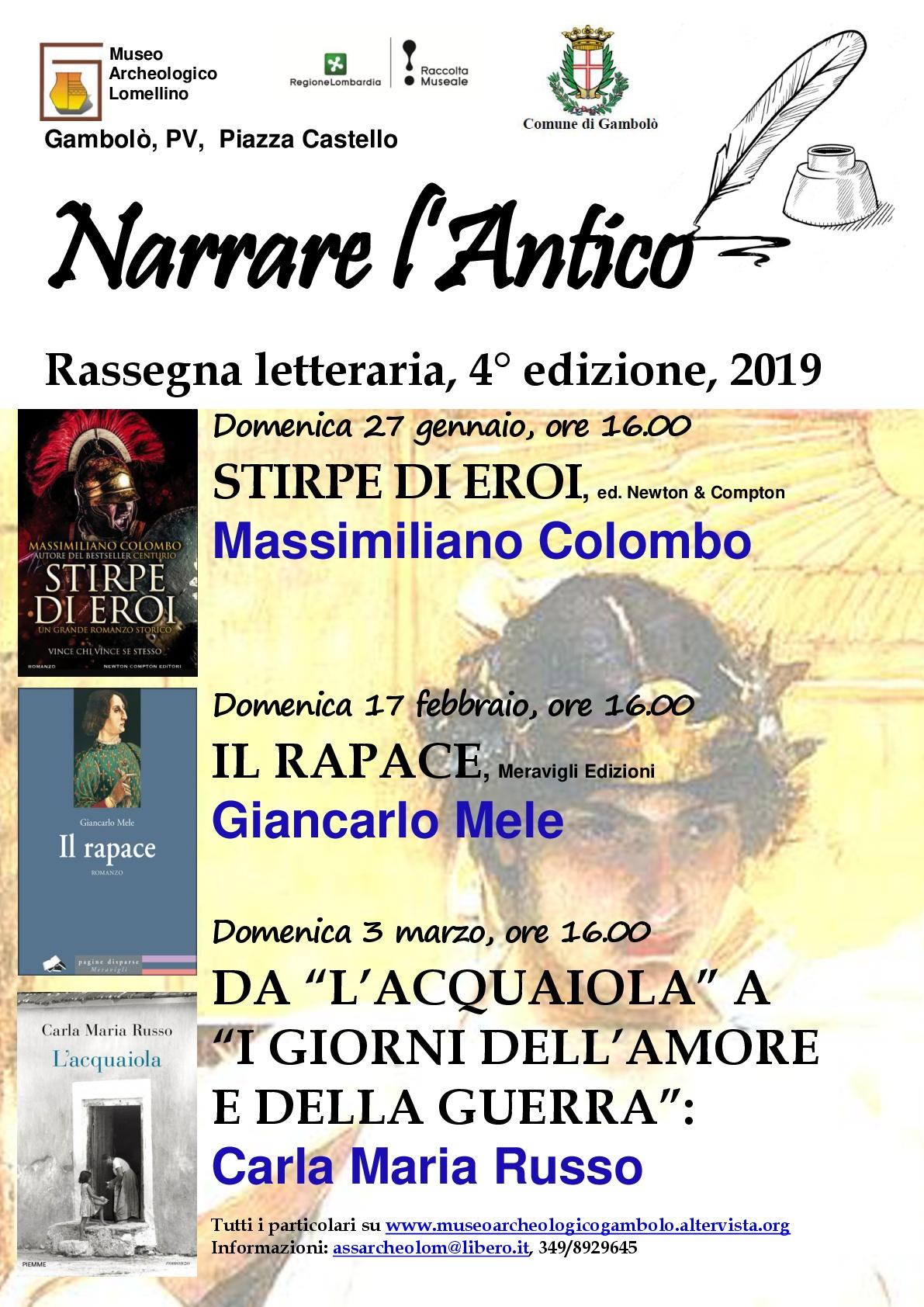 LOCANDINA NARRARE L'ANTICO 2019